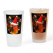 3-sunconure_santa_ornament Drinking Glass