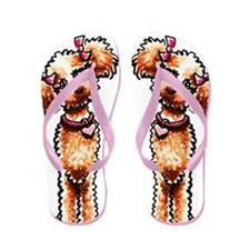 Girly Apricot Poodle Flip Flops