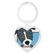 catahoula_cartoon_blk Heart Keychain