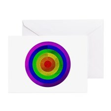 MOSAIC RAINBOW RINGED CIRCLE Greeting Cards (Packa