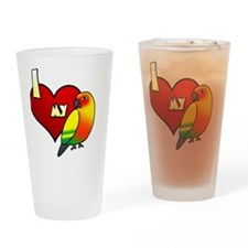 iheartmy_sunconure_blk Drinking Glass