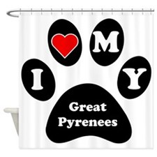 I Heart My Great Pyrenees Shower Curtain