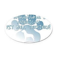 grandchildren_pitbull Oval Car Magnet