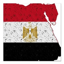 "Egypt Flag Map Square Car Magnet 3"" x 3"""