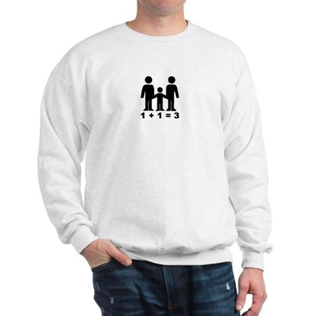 1 + 1 = 3 (graphic of family) Sweatshirt