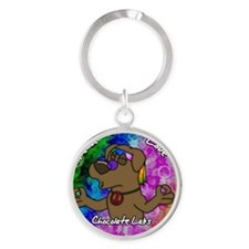 hippie_choclab_ornament Round Keychain