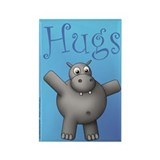 Huggable Hippo Rectangle Magnet