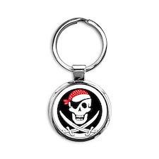 cant-sleep-pirates-black Round Keychain