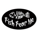 Fish Fear Me Oval  Aufkleber