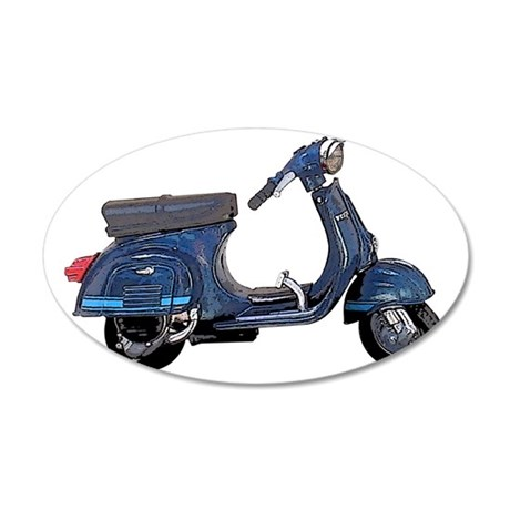 vespa-125-ET3-white 35x21 Oval Wall Decal