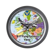 b-17map-round Wall Clock