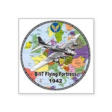 "b-17map-round Square Sticker 3"" x 3"""