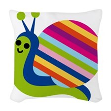 Rainbow Snail Woven Throw Pillow