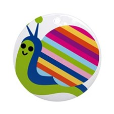 Rainbow Snail Round Ornament
