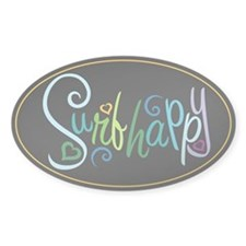 Surf Happy Oval Decal