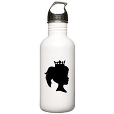 Black Silhouette Princess Sports Water Bottle