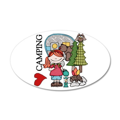 Redhead Girl Loves Camping 20x12 Oval Wall Decal