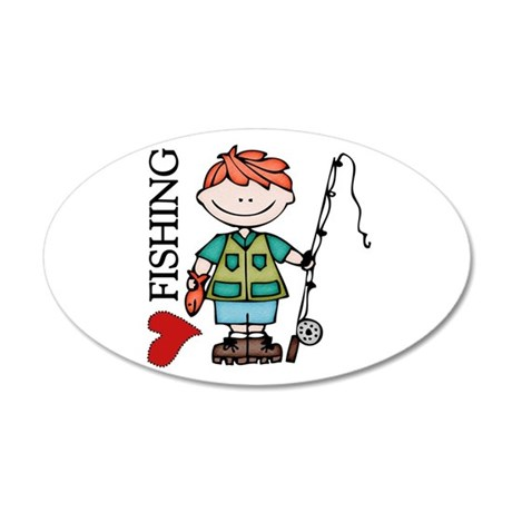 Redhead Boy Love Fishing 20x12 Oval Wall Decal