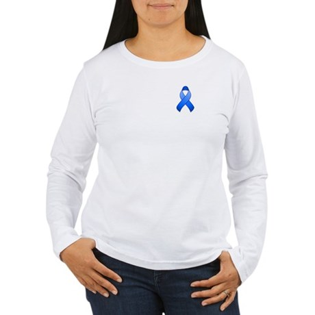 Blue Awareness Ribbon Women's Long Sleeve T-Shirt