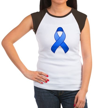 Blue Awareness Ribbon Women's Cap Sleeve T-Shirt