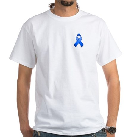 Blue Awareness Ribbon White T-Shirt