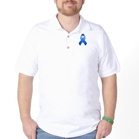 Blue Awareness Ribbon Golf Shirt