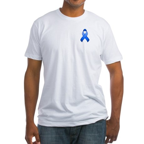 Blue Awareness Ribbon Fitted T-Shirt