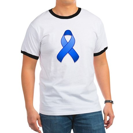 Blue Awareness Ribbon Ringer T