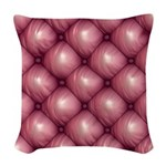 Lounge Leather - Pink Woven Throw Pillow