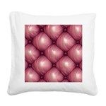 Lounge Leather - Pink Square Canvas Pillow