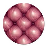 Lounge Leather - Pink Round Car Magnet