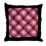 Lounge Leather - Pink Throw Pillow