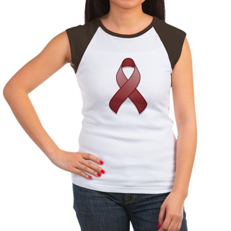 Burgundy Awareness Ribbon Women's Cap Sleeve T-Shi
