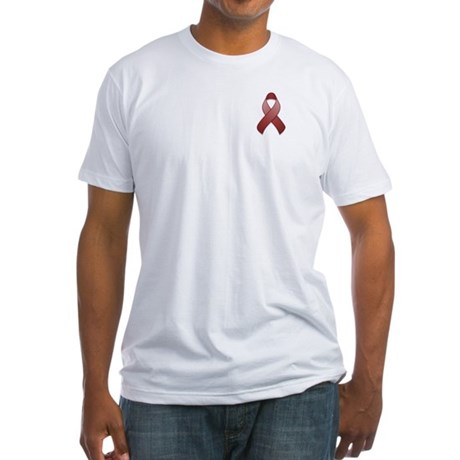 Burgundy Awareness Ribbon Fitted T-Shirt