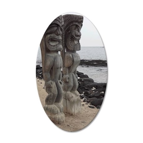Place of Refuge Tikis 35x21 Oval Wall Decal