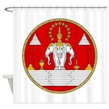 Laotian Royal Coat of Arms Shower Curtain