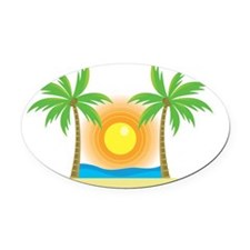 sunny palm tree design Oval Car Magnet