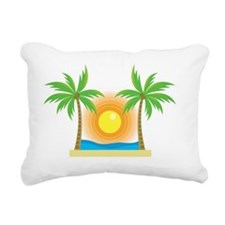 sunny palm tree design Rectangular Canvas Pillow