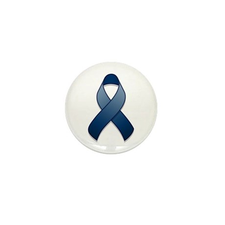 Dark Blue Awareness Ribbon Mini Button