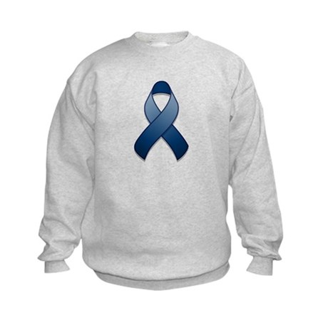 Dark Blue Awareness Ribbon Kids Sweatshirt