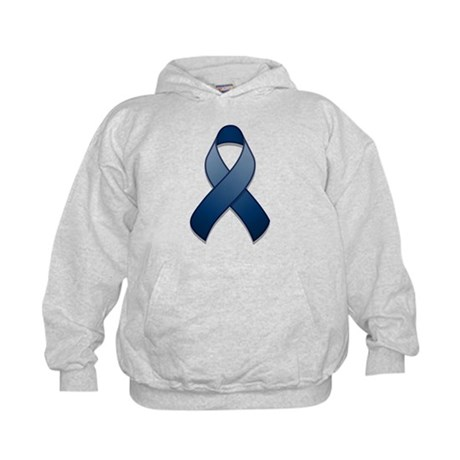 Dark Blue Awareness Ribbon Kids Hoodie