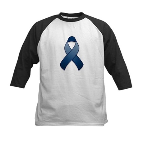 Dark Blue Awareness Ribbon Kids Baseball Jersey