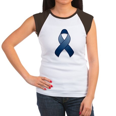 Dark Blue Awareness Ribbon Women's Cap Sleeve T-Sh