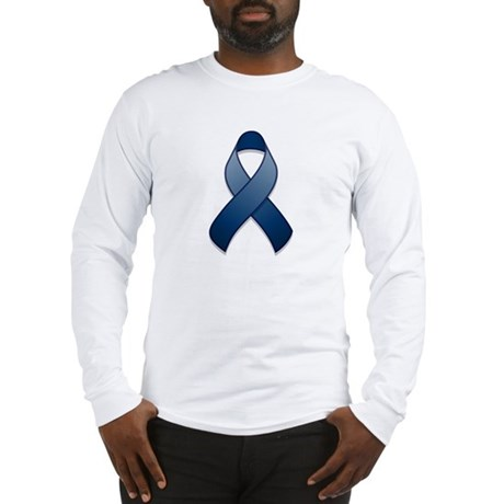 Dark Blue Awareness Ribbon Long Sleeve T-Shirt