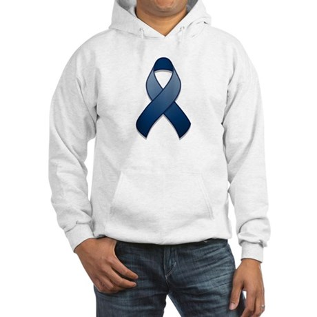 Dark Blue Awareness Ribbon Hooded Sweatshirt