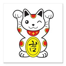 "Maneki neko Lucky Cat Square Car Magnet 3"" x 3"""