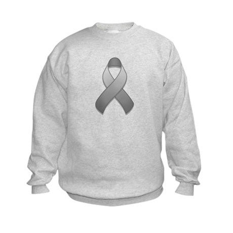 Gray Awareness Ribbon Kids Sweatshirt
