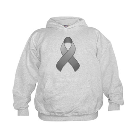 Gray Awareness Ribbon Kids Hoodie