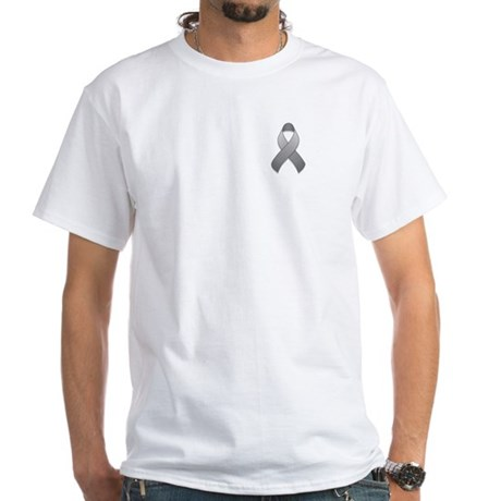 Gray Awareness Ribbon White T-Shirt