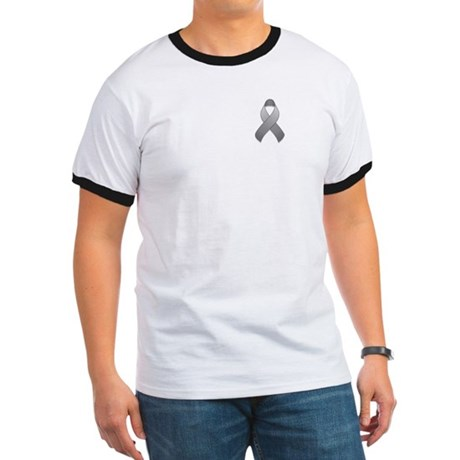 Gray Awareness Ribbon Ringer T